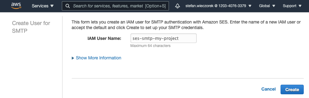 Enter IAM User Name