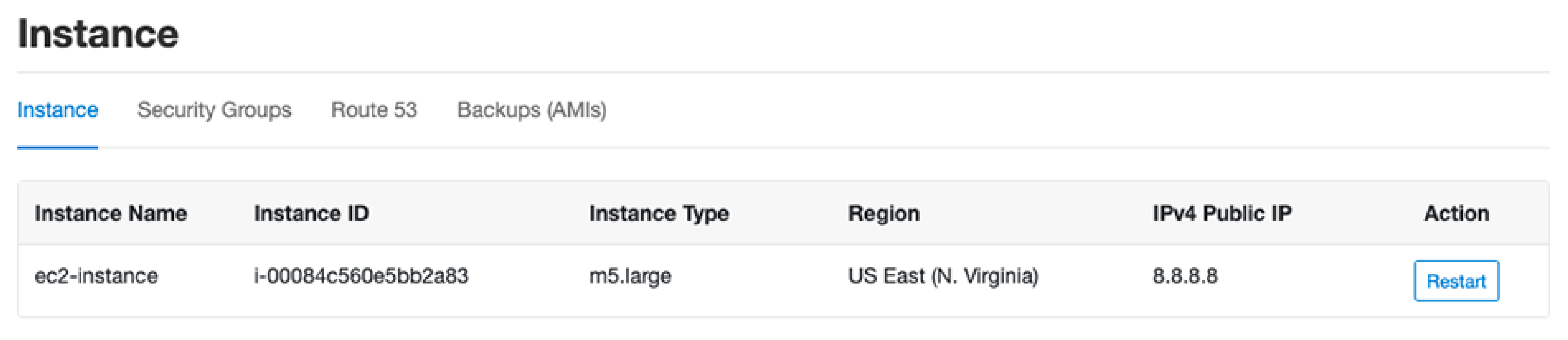 AWS Instance Information on CloudPanel