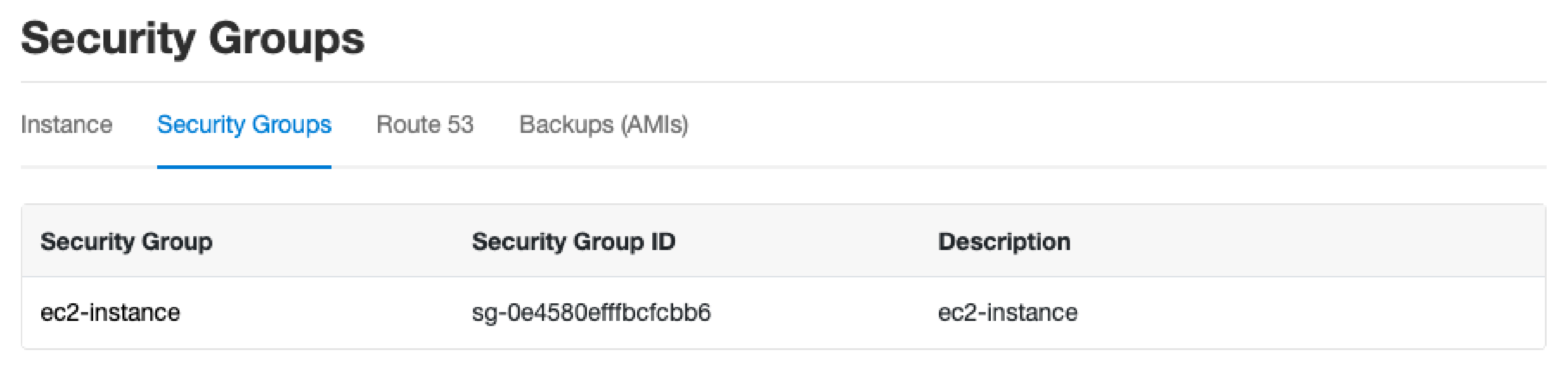 CloudPanel Security Groups
