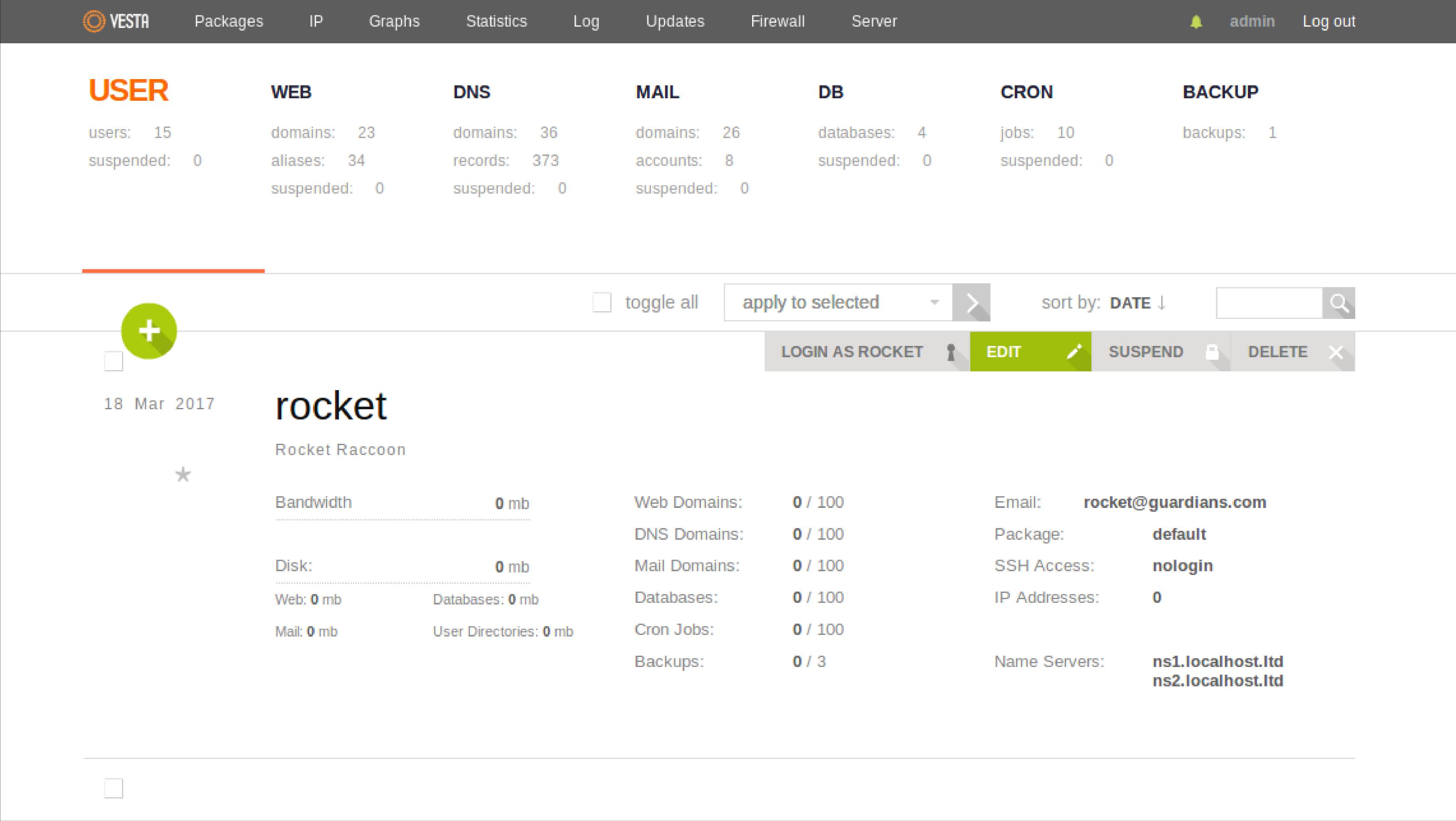 Vesta Dashboard -cPanel alternatives