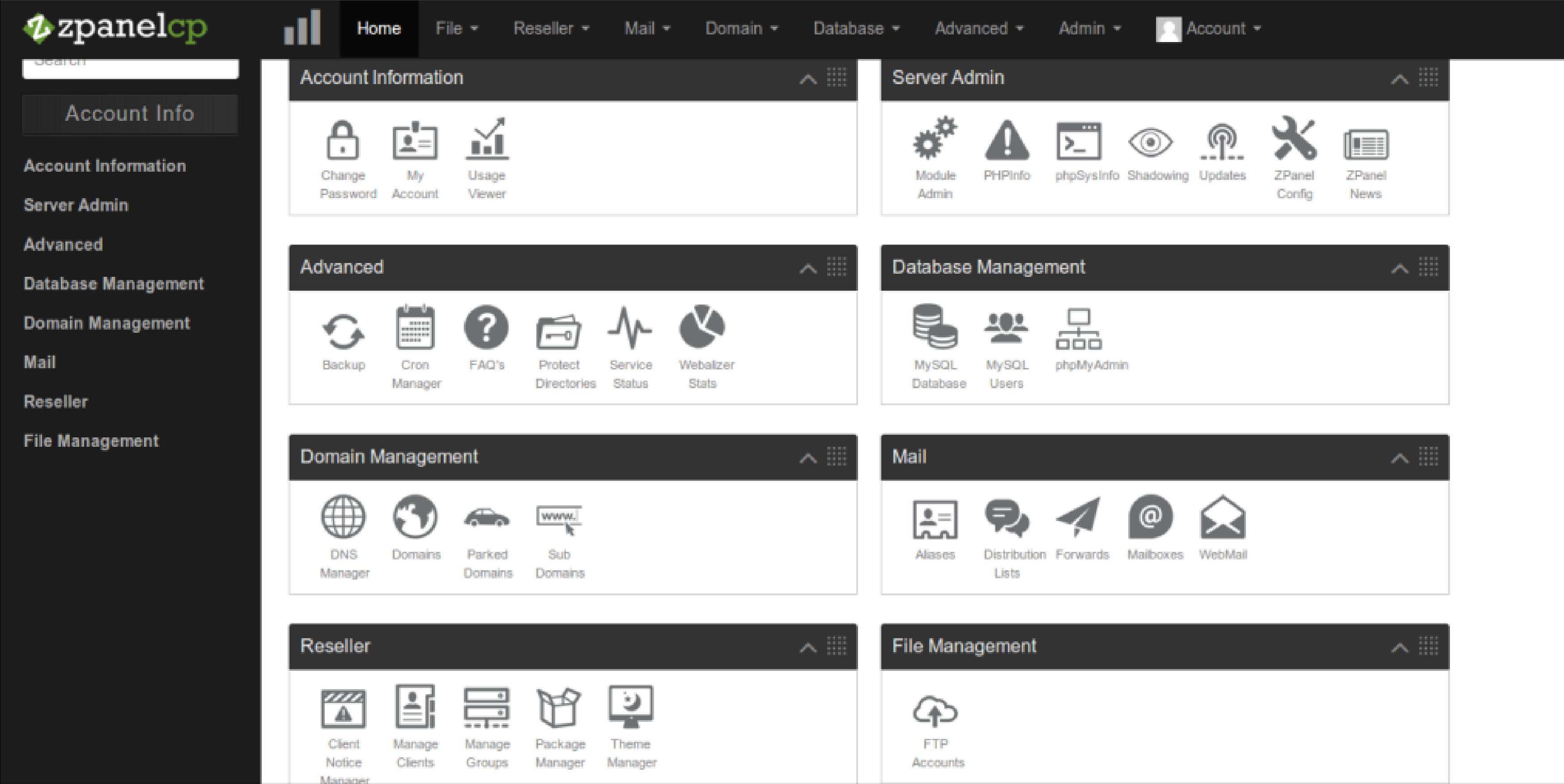 zPanel Dashboard for cPanel alternatives