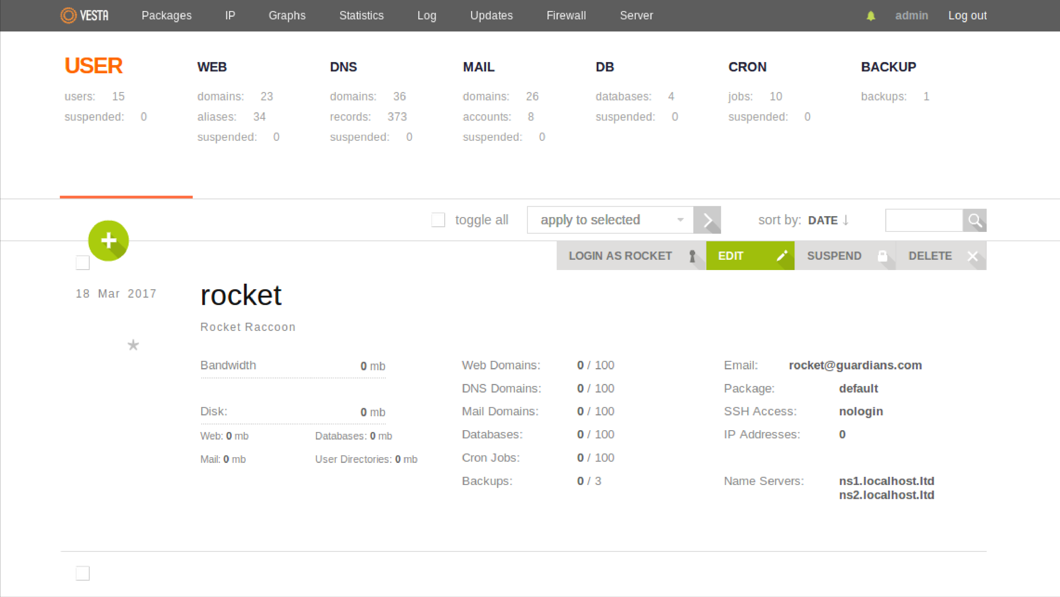 Vesta CP Dashboard -Free Plesk Alternative